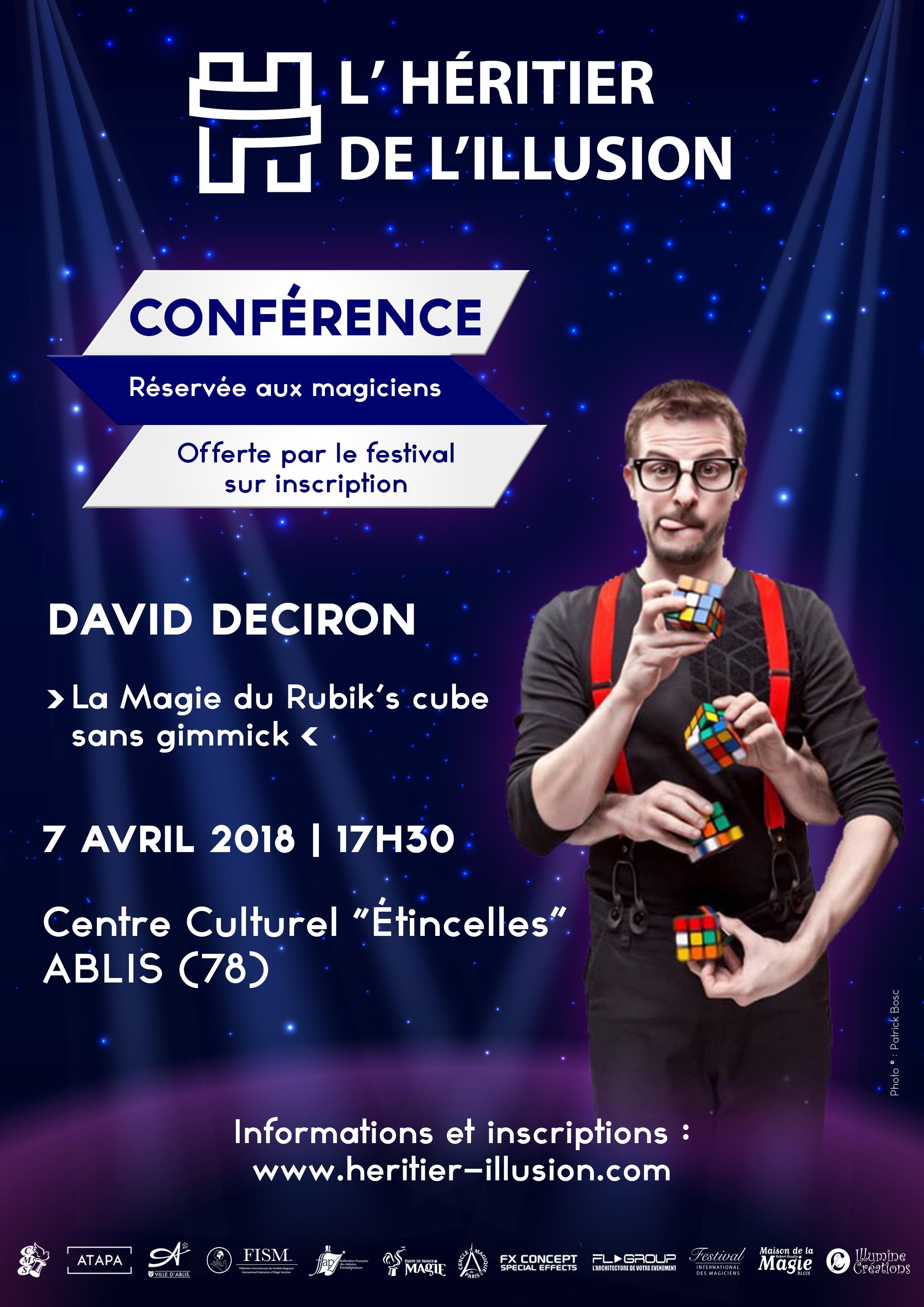 Conférence La Magie du Rubik's Cube sans gimmick de David Deciron - L'Héritier de l'Illusion
