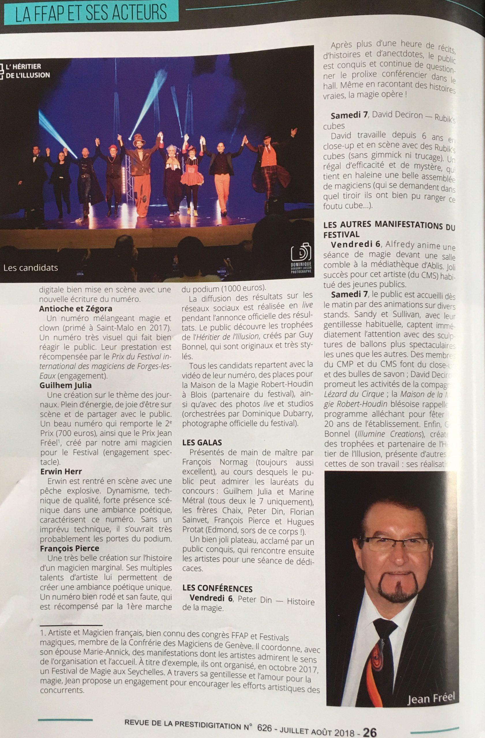 Retour Presse Heritier 2018 - Journal de la Fédération Française des Artistes Prestidigitateurs