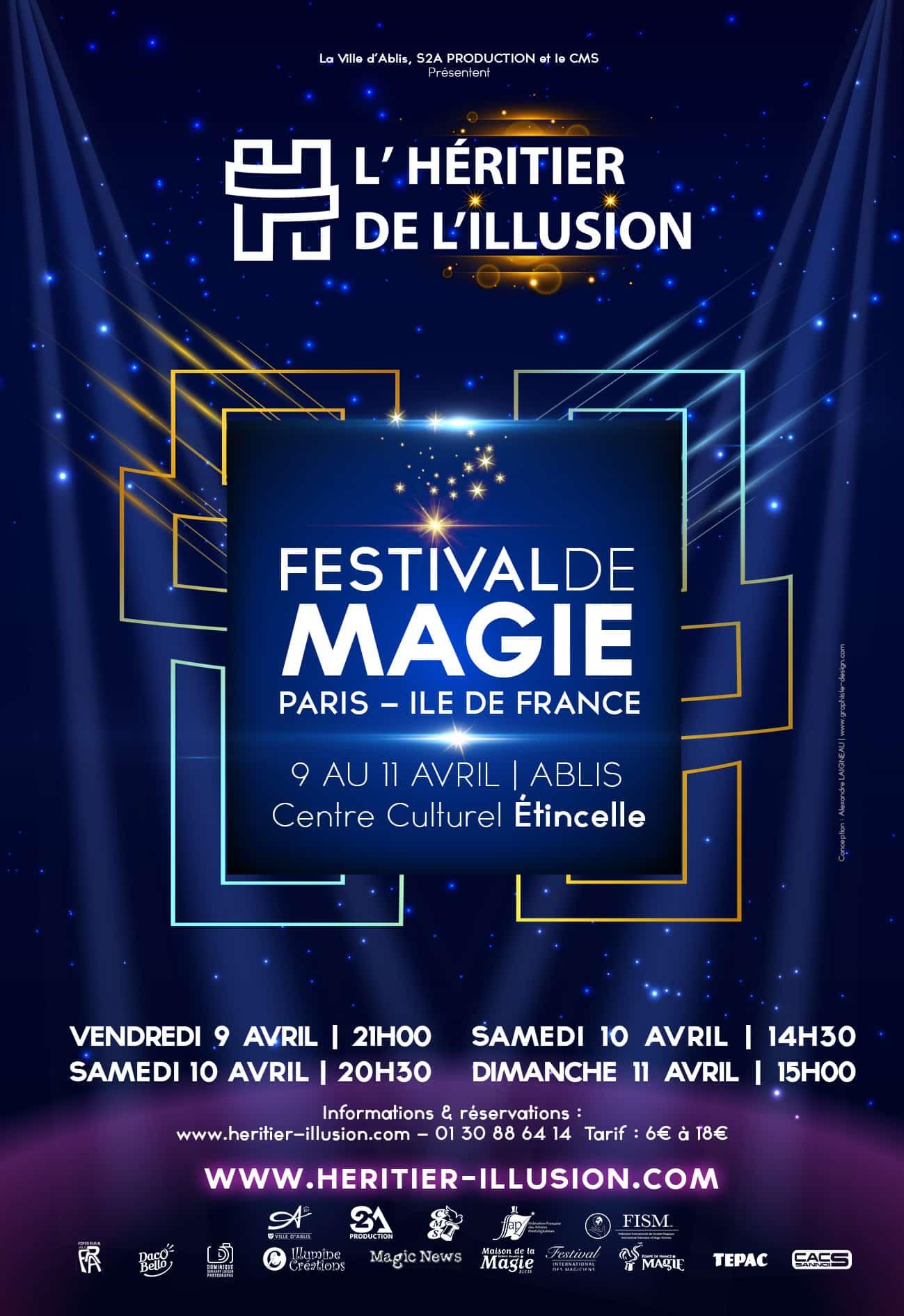 Billetterie et affiche Festival de magie Parie Héritier de l'Illusion 2021